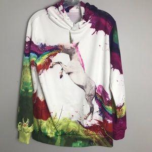 Tops - NEW Hoodie Rainbow Unicorn Size S/M